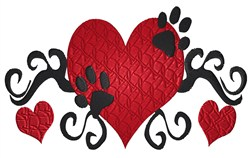 Heart  with swirls and paws embroidery design
