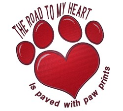 Heart Paw Road embroidery design