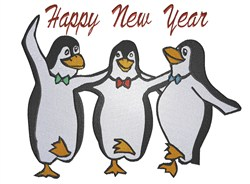Happy New Year Penguins embroidery design