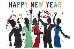 New Year Party Silhoutte embroidery design