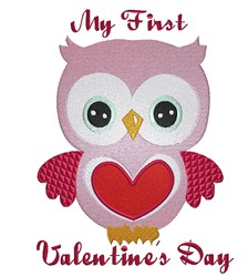 Owls First Valentines embroidery design