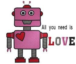 Valentine Robot embroidery design