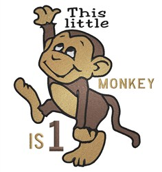 Little Monkey Is One embroidery design