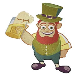 Leprechaun Here For Beer embroidery design
