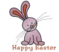 Pink Bunny Happy Easter embroidery design