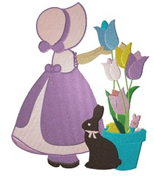 Bonnet Girl With Tulips embroidery design