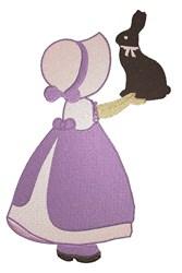 Chocolate Bunny Bonnet Girl embroidery design