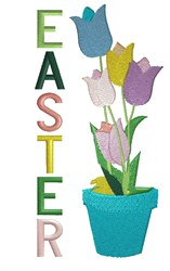 Pot Of Tulips Easter embroidery design