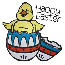 Chick  In Egg Happy Easter embroidery design