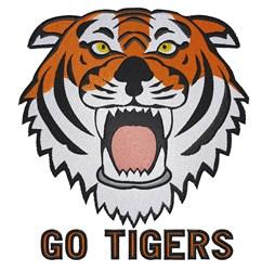 Tiger Head Go Tigers embroidery design