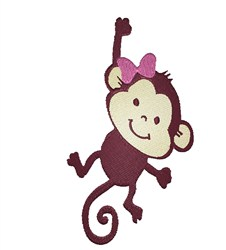 Baby Girl Monkey embroidery design