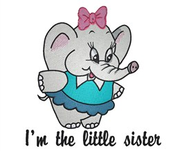 Baby Elephant Little Sister embroidery design