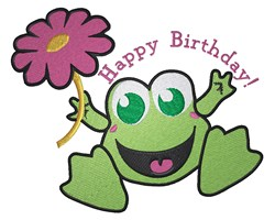 Happy Birthday Frog embroidery design