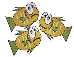 Three Cartoon goldfish embroidery design