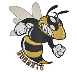 Angry Bee mascot Hornets embroidery design