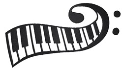 Curly Piano Keyboard embroidery design