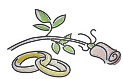Rose Wedding Rings embroidery design