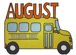 August School Bus embroidery design