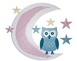 Owl On Moon embroidery design