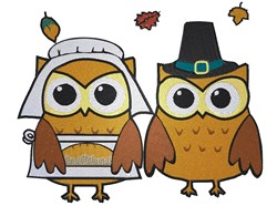 Pilgrim Owls Thanksgiving embroidery design