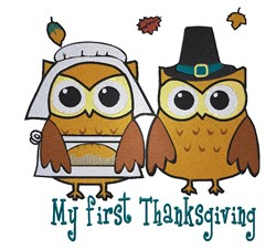 Owl Couple Thanksgiving embroidery design