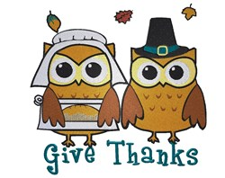 Pilgrim Owls Give Thanks embroidery design