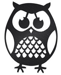 Cute Owl Silhouette embroidery design