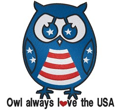 Patriotic Owl Love USA embroidery design