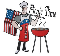Picnic Time BBQ Chef embroidery design