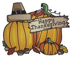 Happy Thanksgiving Pumpkins embroidery design