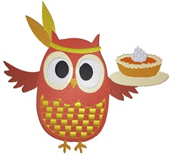Indian Owl with Pie embroidery design