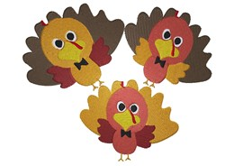 Three Baby Turkeys embroidery design