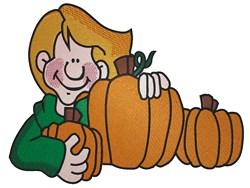 Boy & Pumpkins embroidery design