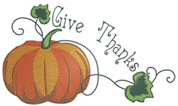 Pumpkin Corner Give Thanks embroidery design