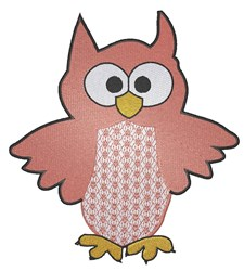 Cute Pink Owl embroidery design