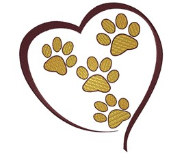 Heart of Paws embroidery design