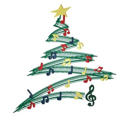Musical Christmas Tree embroidery design