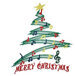 Merry Christmas Musical Tree embroidery design