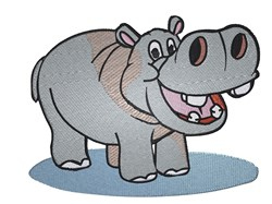 Cute Cartoon Hippo embroidery design