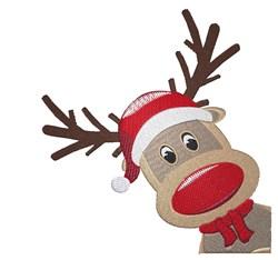 Rudolph Peeking In embroidery design