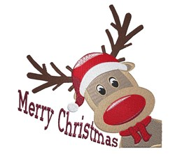 Merry Christmas Rudolph embroidery design