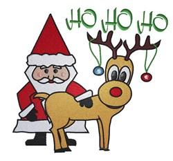 Santa Rudolph HO HO embroidery design