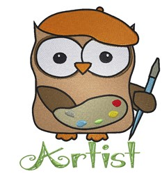 Owl Artist embroidery design