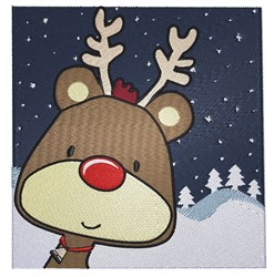 Winter Scene Rudolph embroidery design