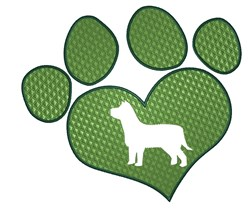 Dog in Heart Paw embroidery design