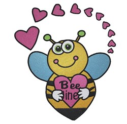 Valentine Bee embroidery design