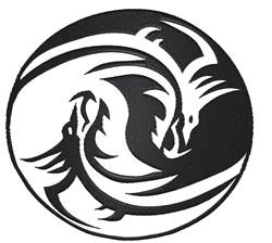 Dragon Ying Yang embroidery design