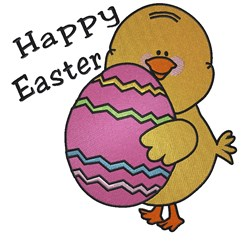 Happy Easter Chick embroidery design