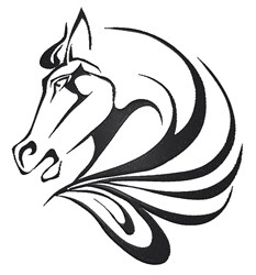 Horse Head Swirl embroidery design