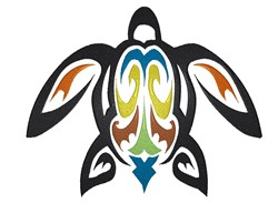 Colorful Tribal Turtle Silhouette embroidery design